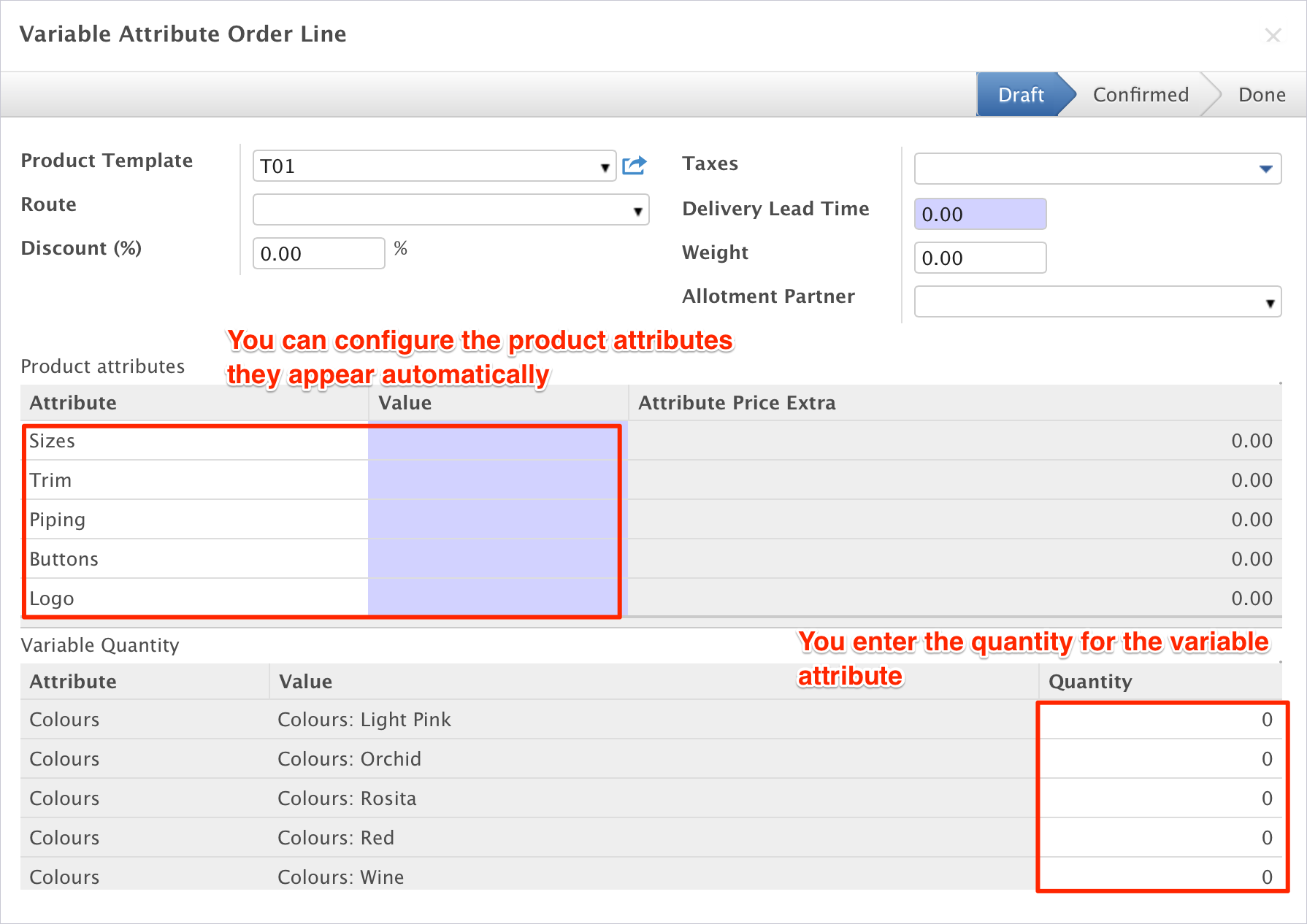 Odoo product attributes erp